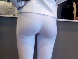 Peeping a thong pantyline on a perfect ass