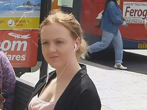 Gentle young breasts in downblouse