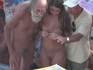 Nudist grandpa fetches hot young nudist