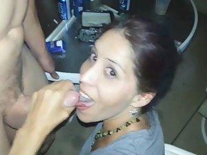 Slutty wife sucks dick of husband's friend