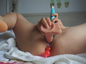 Horny slut needs three toys to cum