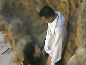 Peeping a relaxing blowjob by the cliffs