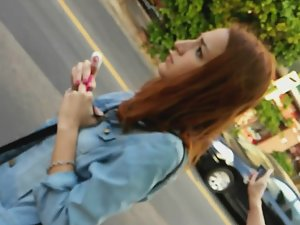 Upskirt of redhead schoolgirl