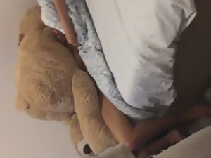 Naked fun with a big teddy bear