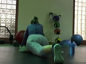 Girl caught voyeur looking during stretching Picture 4