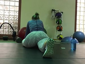 Girl caught voyeur looking during stretching Picture 5