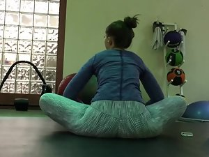 Girl caught voyeur looking during stretching Picture 7