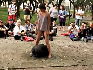 Hippies do a strange naked public performance