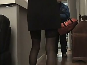 Fuckable woman teases the delivery man