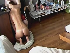 Blowjob spied in living room