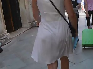 See thru dress reveals granny panties