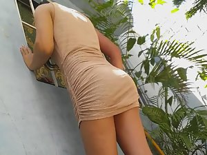 Neighbor girl's upskirt from close range