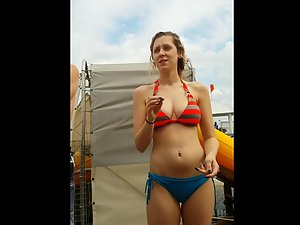 Simple but stunning girl at the water slide