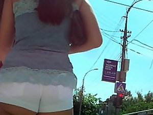 White hot pants crawl into her butt crack