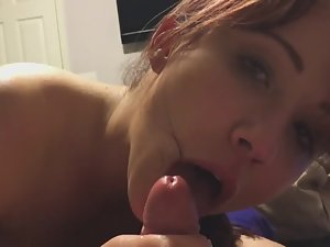 Guy grunts and cums from great blowjob