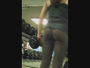 Fit girl's workout in see through tights Picture 2