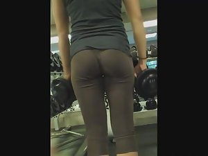 Fit girl's workout in see through tights Picture 3